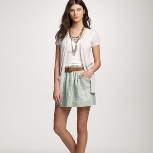 J. Crew Green Tweed Shirred Mini Skirt